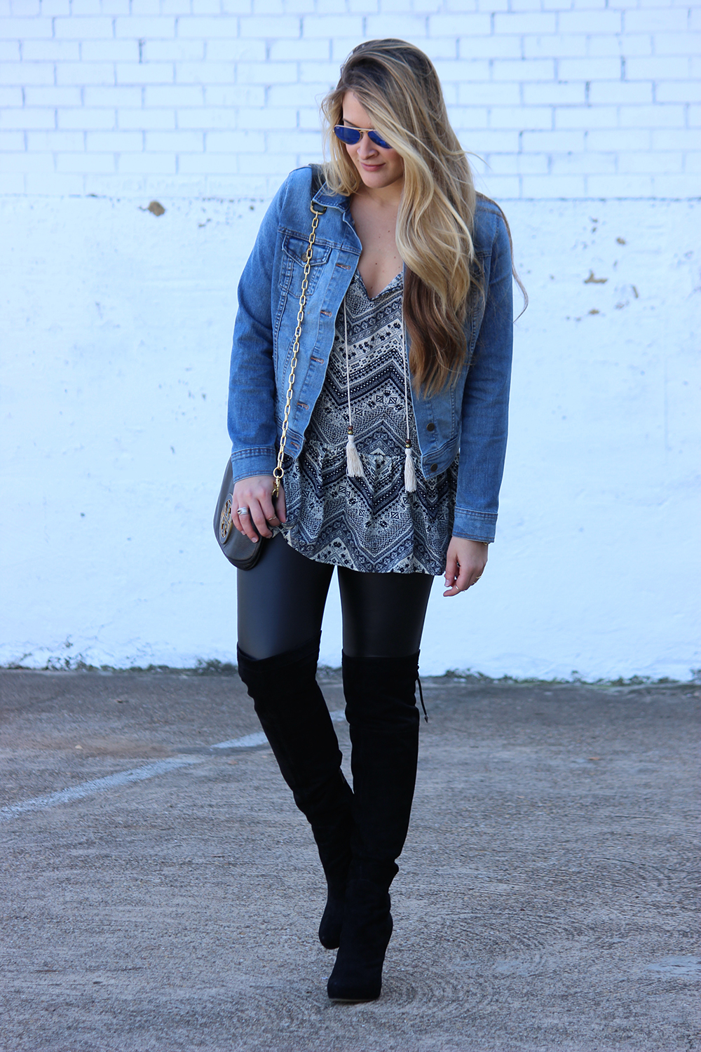Faux Leather Leggings and Over the Knee Boots | Cameron Proffitt