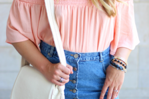 Two Trends in One: Off-the-Shoulder Top and Denim Skirt