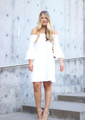 Transitional White Bell Sleeve Dress