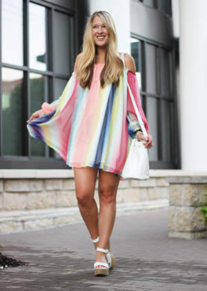 Off-the-Shoulder Rainbow Dress