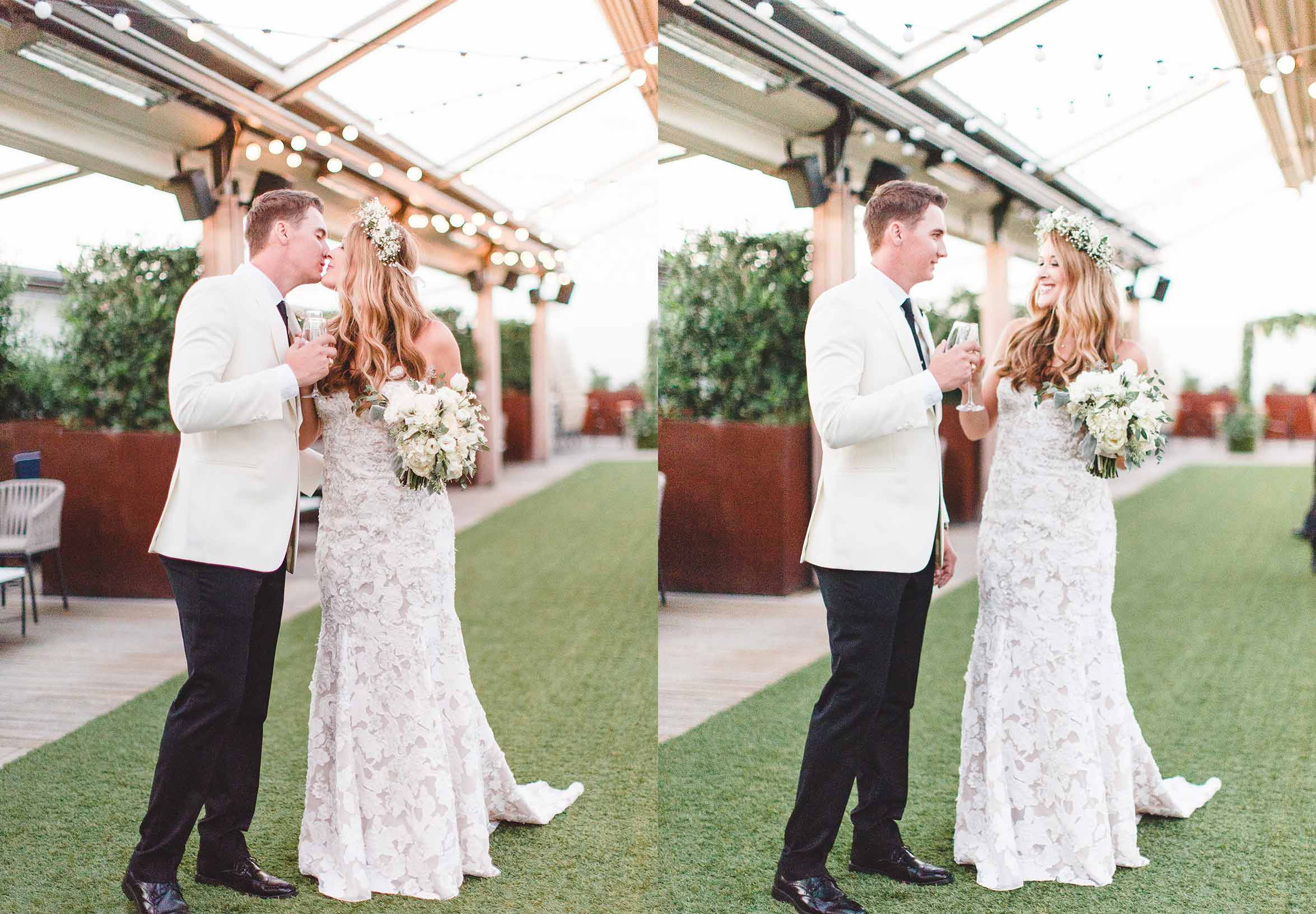 Renaissance Dallas Hotel wedding -- Renaissance Dallas Hotel rooftop -- wedding at Renaissance Dallas Hotel -- Dallas fashion blogger Cameron Proffitt has romantic Dallas rooftop wedding with mix-and-match bridesmaids dresses and neutral color palette -- Dallas Texas wedding venues