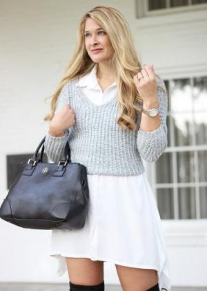Layered Sweater Shirt Dress