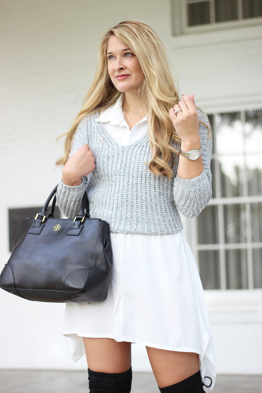 Layered sweater shirt dress cameron proffitt for Sweater over wedding dress