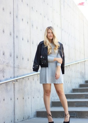 Backless Knit Dress and Embroidered Bomber Jacket