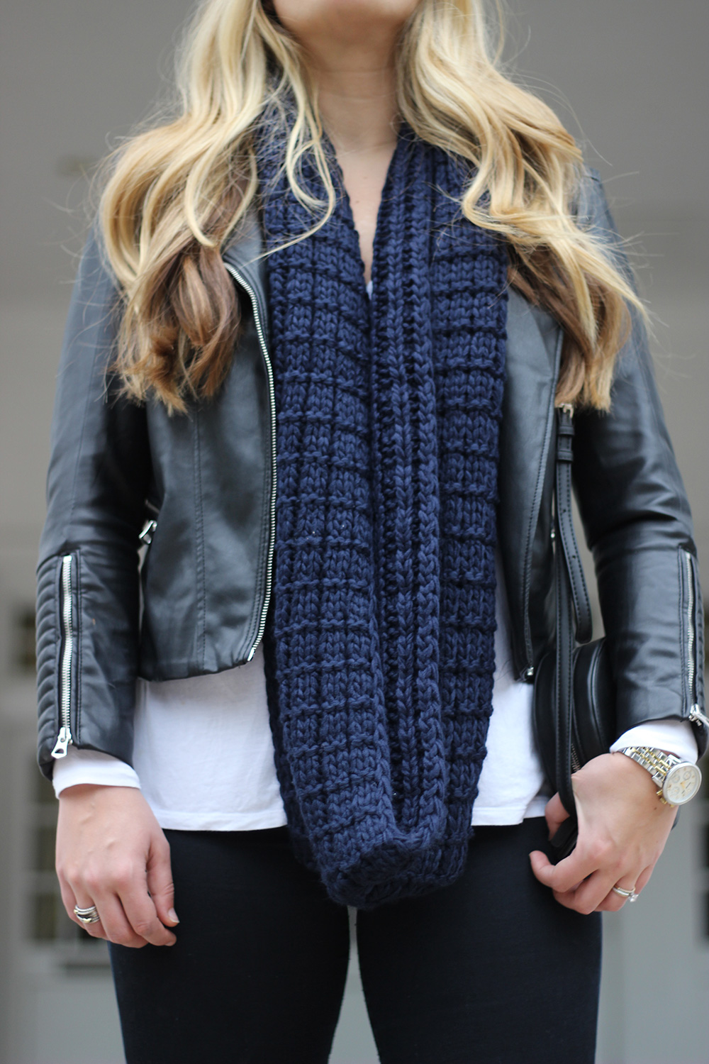 Infinity Scarf And Faux Leather Jacket Cameron Proffitt
