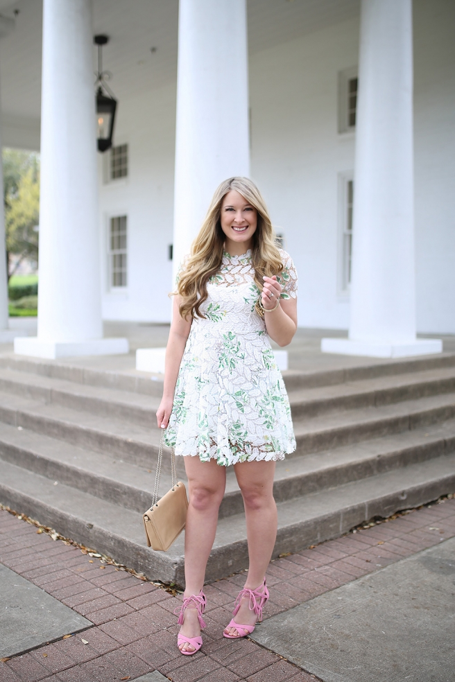 Dallas-fashion-blogger-Cameron-Proffitt-wears-dress-with-white-lace-overlay - chicwish white lace dress - affordable spring outfit