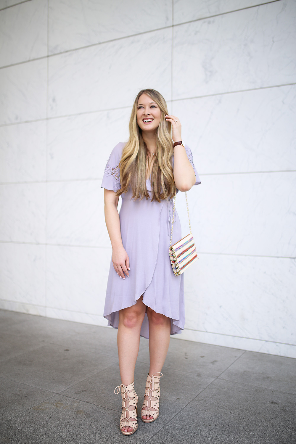 Dallas fashion blogger Cameron Proffitt wears embroidered maxi dress for sping -- lavender wrap dress from nordstrom