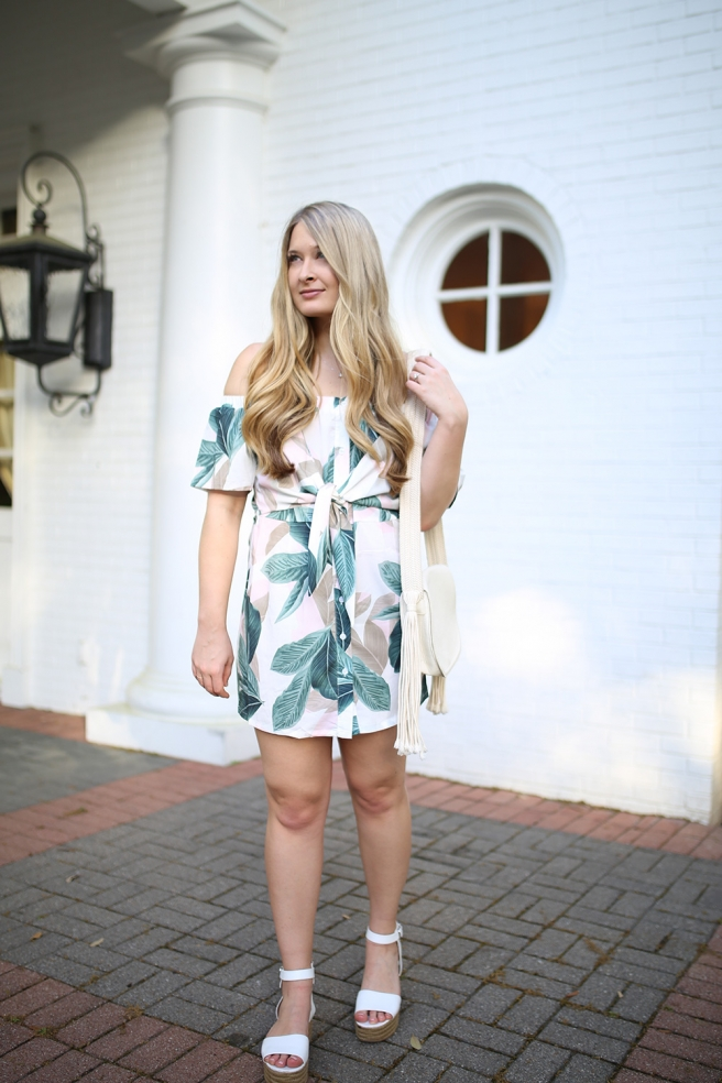 Dallas fashion blogger Cameron Proffitt wears Missguided Bardot dress with tie front