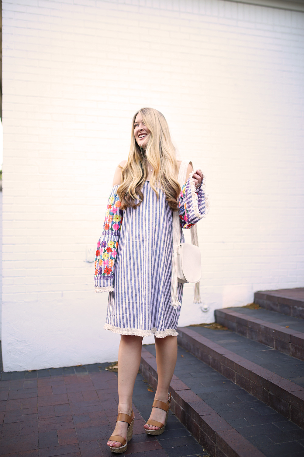 Dallas fashion blogger Cameron Proffitt wears embroidered bell sleeve dress from asos