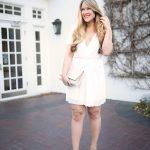 White Surplice Wrap Dress with Pleats