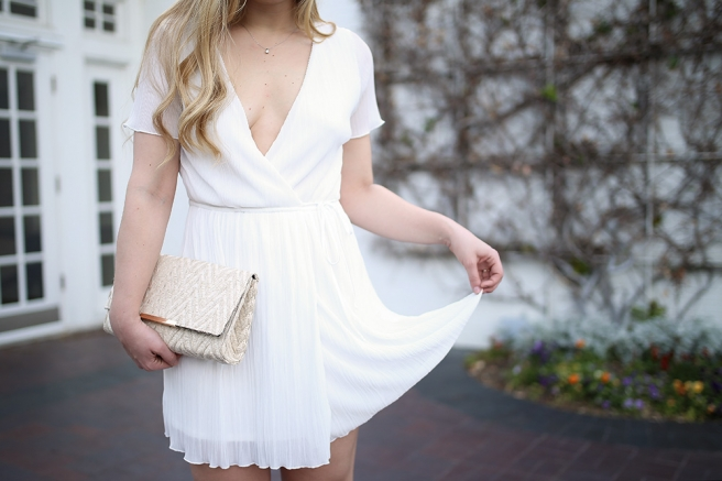 Dallas fashion blogger Cameron Proffitt wears Leith Pleat Surplice Wrap Dress with deep v-neck from Nordstom and Stuart weitzman nudist heels