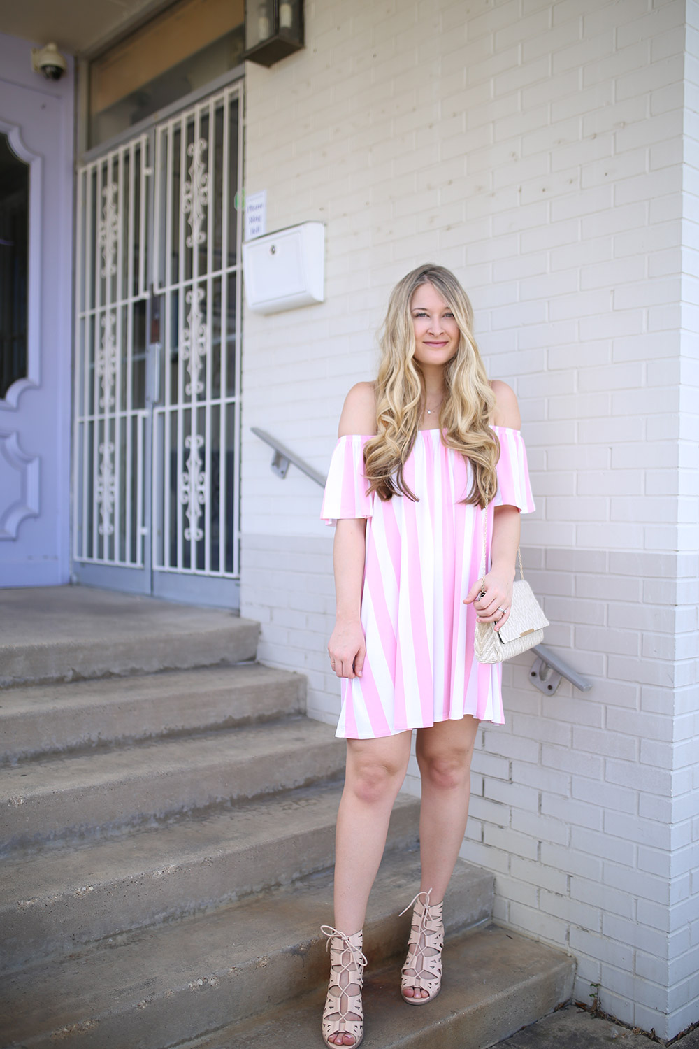 Dallas fashion blogger Cameron Proffitt wears Asos sundress for less than 30_pink and white striped sundress_affordable summer dress