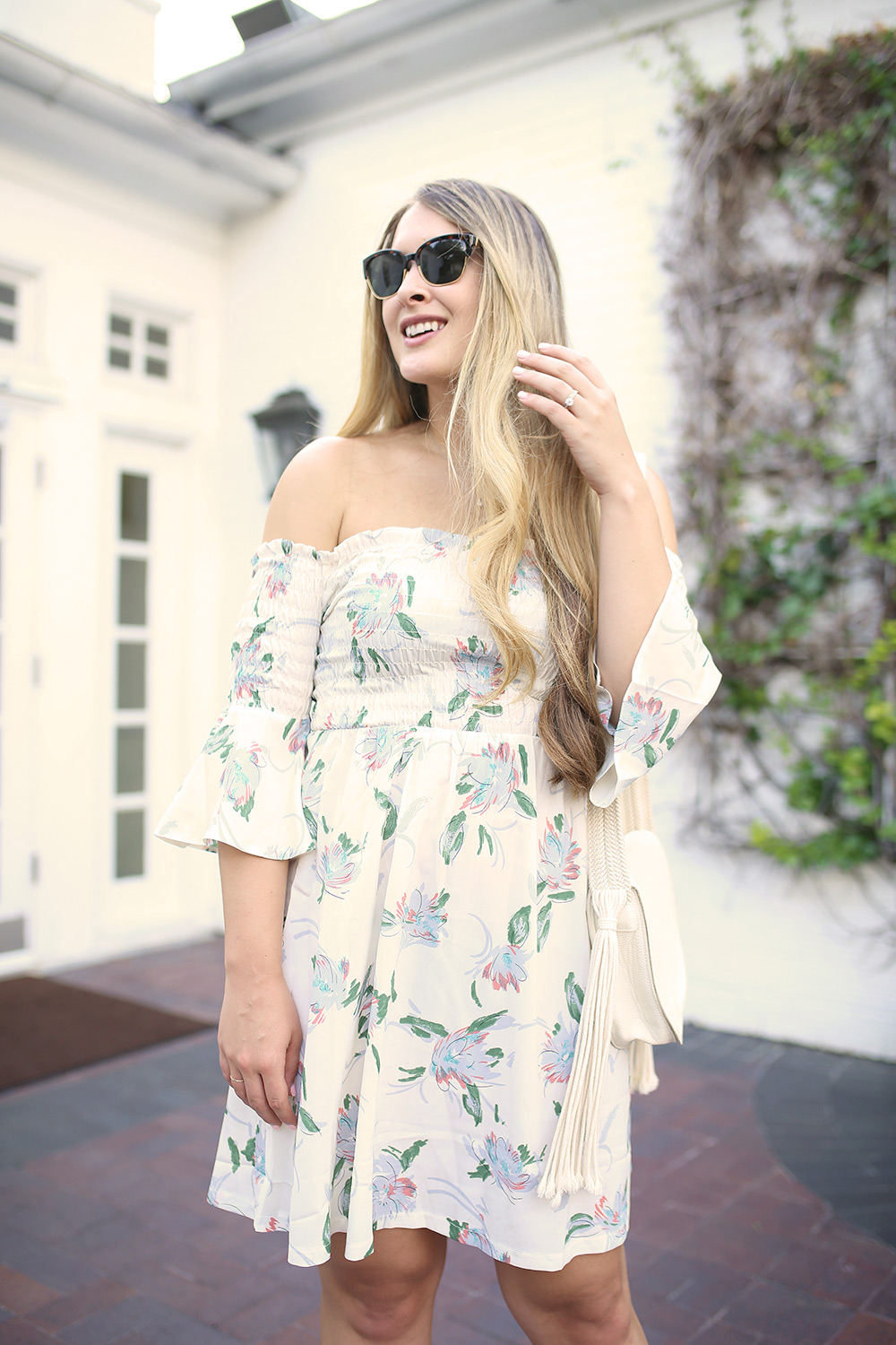 Affordable summer dress with bell sleeves from Asos. Floral summer dress. Off the shoulder dress with florals. Simple summer style