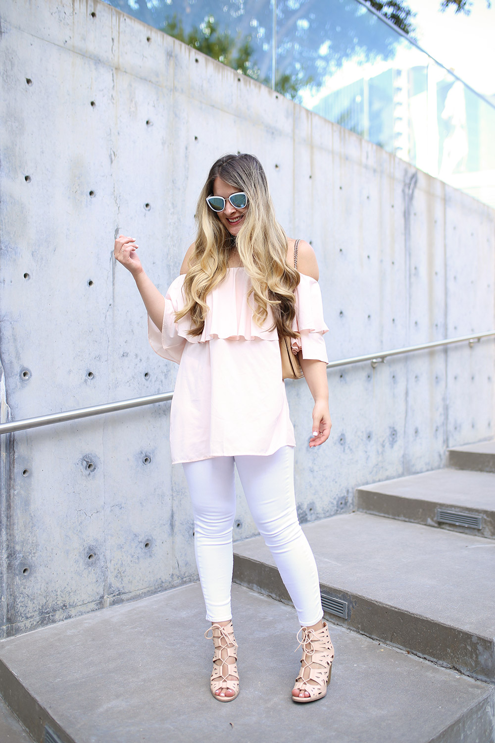 Cute summer outfit idea with pink off-the-shoulder top from Chicwish and white jeans - How to style white jeans - Style blogger - Dallas style blogger - Pink top and white jeans - Cool mirrored sunglasses