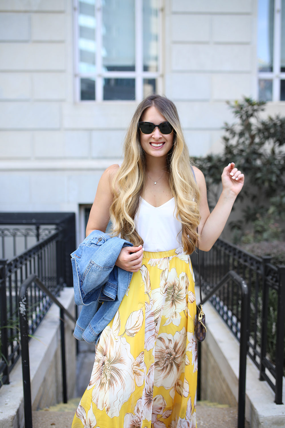 Yellow Maxi Skirt With Floral Print Cameron Proffitt