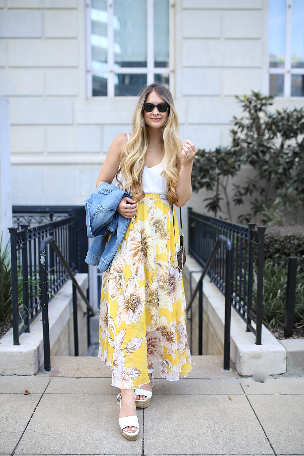 Yellow Maxi Skirt With Floral Print