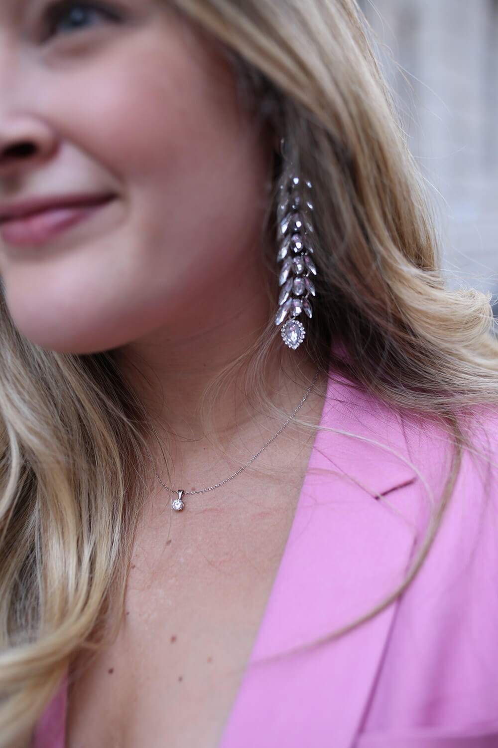 Glamorous sparkly jumpsuit from Nordstrom with polished pink blazer create exciting party outfit. For a chic night on the town this glitterly pantsuit is perfect for parties and date night. Pink blazer and glittery jumpsuit from Nordstrom. Glamorous winter outfit inspiration from Nordstrom