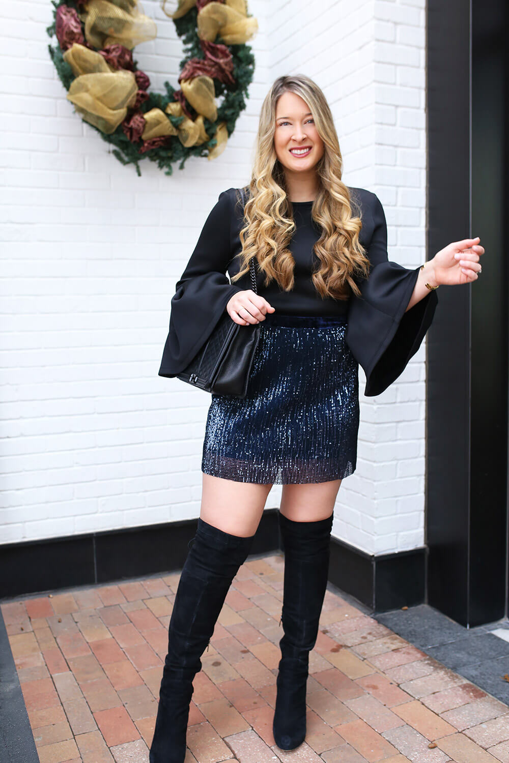 Still trying to figure out what to wear to ring in 2018? Here are New Year's Eve Inspiration from Nordstrom. Plus, see how you can enter to win a $1,000 gift card to Nordstrom. Sparkly skirt. Neoprene top with bell sleeves. Over-the-knee boots for NYE.
