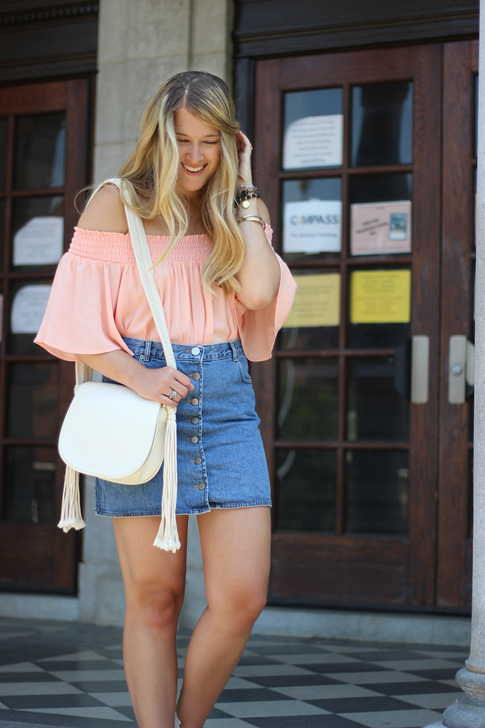 077b501cef7 Two Trends in One: Off-the-Shoulder Top and Denim Skirt | Cameron ...