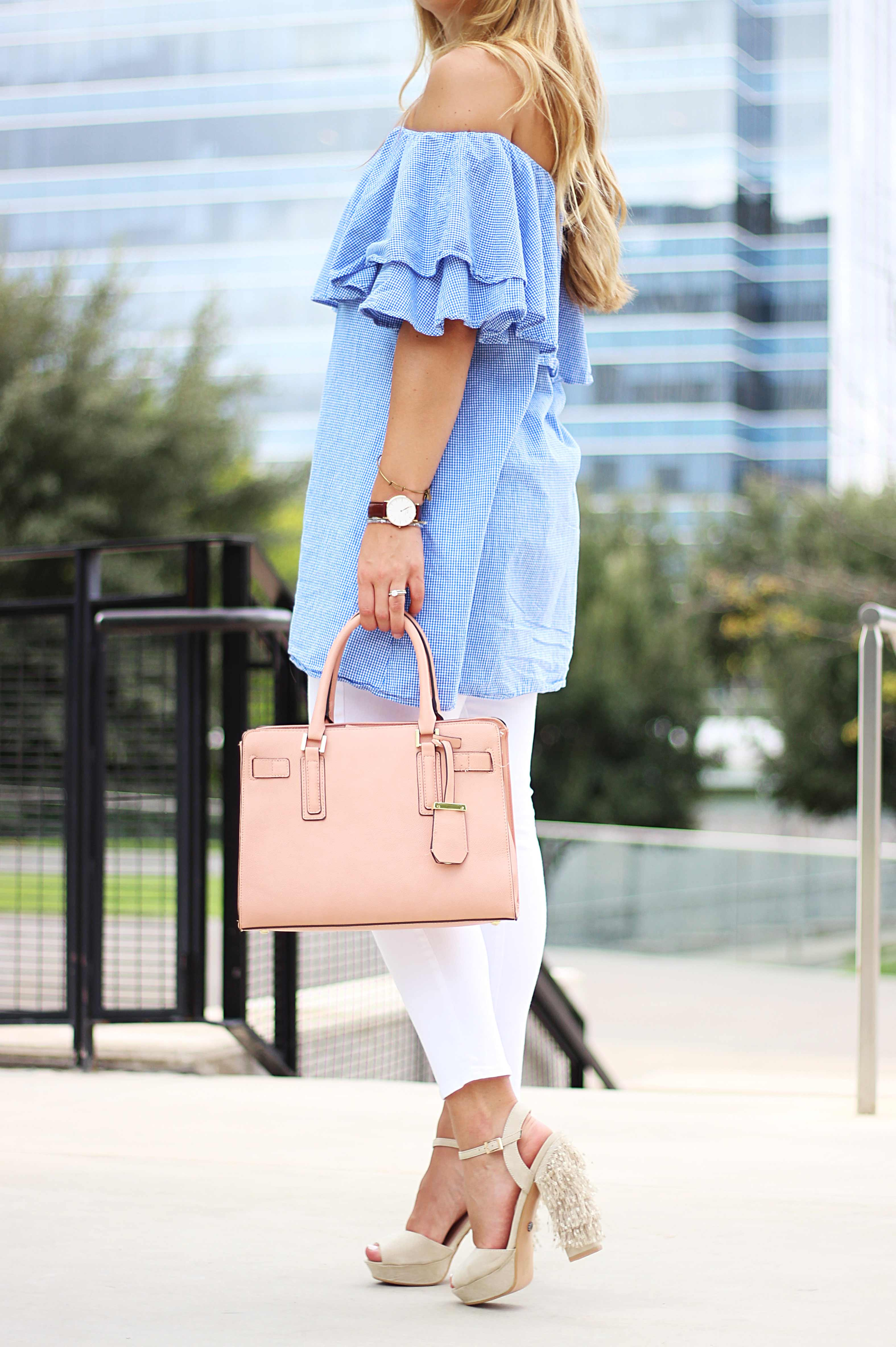 7122792fc09f2 ... Dallas fashion blogger cameron proffitt wears shein off the shoulder top  and white jeans to complete ...