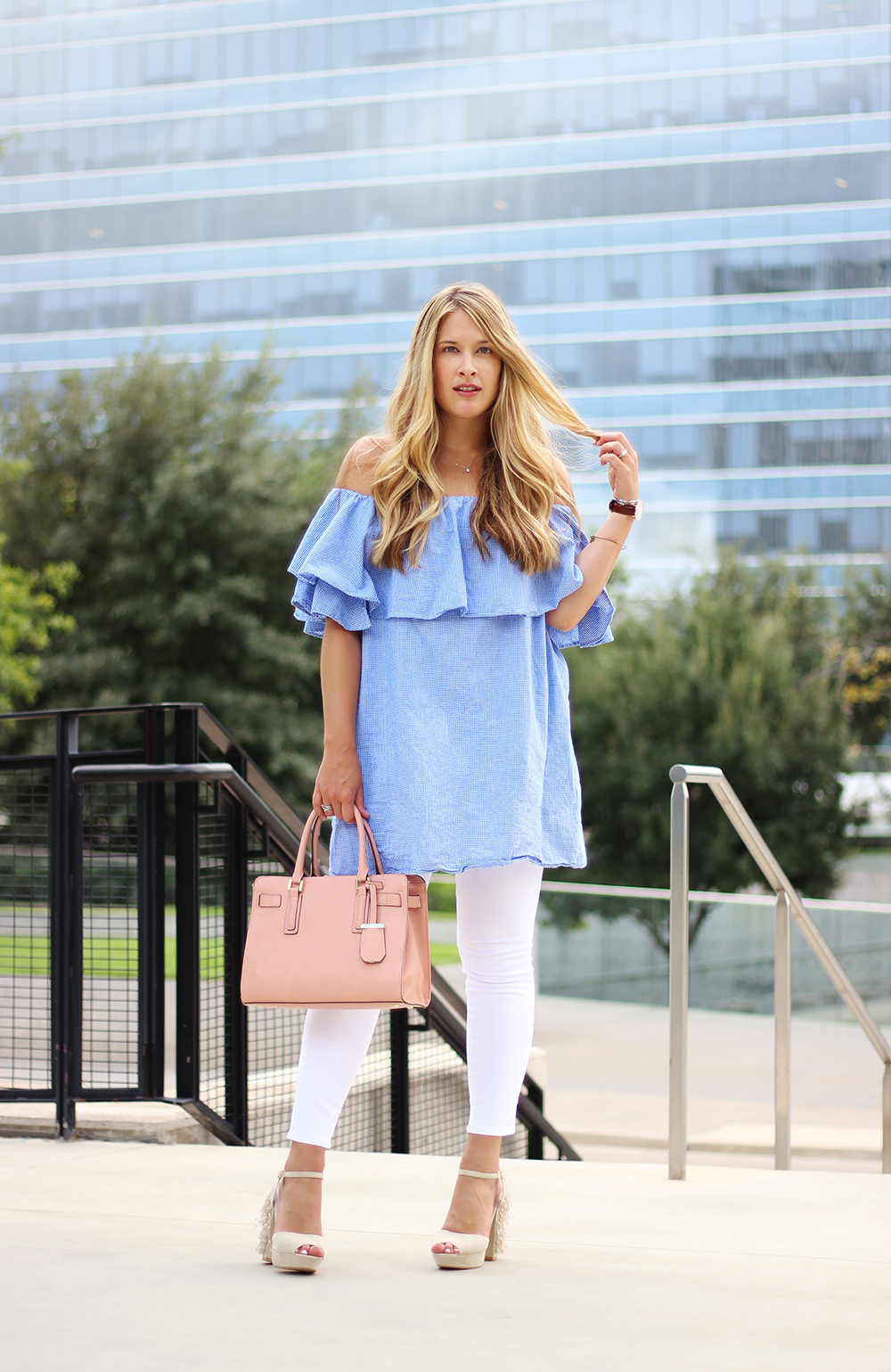 ef44de7f76dfe Dallas fashion blogger cameron proffitt wears shein off the shoulder top  and white jeans to complete ...