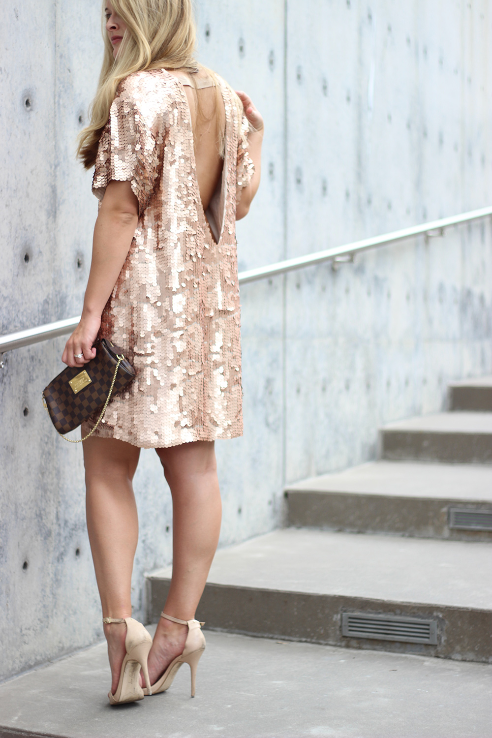 a528fc4157d2e ... Dallas fashion blogger cameron proffitt wears gold sequin free people  dress and tells readers what to