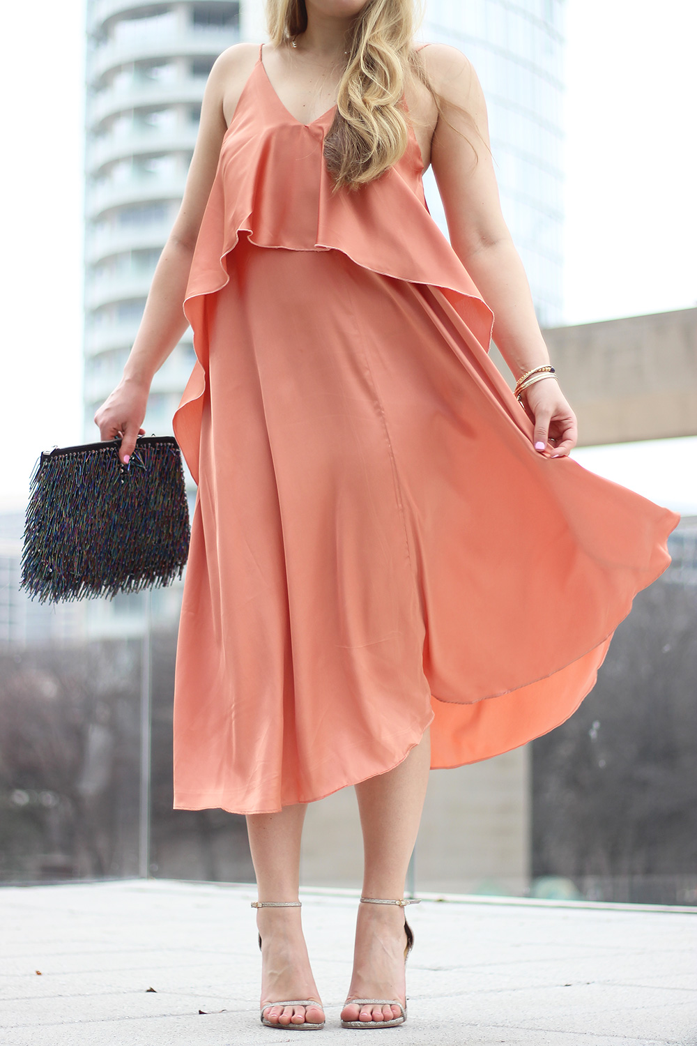 Traffic Stopping Coral Dress By Cameron Proffitt