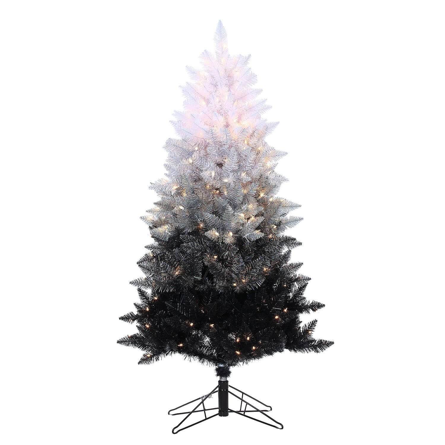 Black Pre Lit Christmas Tree